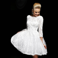 2014 bridesmaid dress bride bridesmaid dress long-sleeve slit neckline short design plus size dress