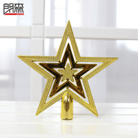 Free shipping Gold christmas tree going christmas five-pointed star christmas decoration 10pcs/lot