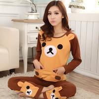 Autumn women's cartoon 100% cotton long-sleeve sleepwear long sleeve length pants lounge set