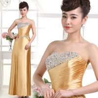 2014  Wedding Dress Prom Dress Bridesmaid Dress Diamond Slim Long Sweet Tube Top Golden Dress