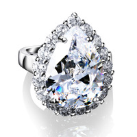 Free Shipping Bridal Finger Rings AAA Cubic Zircon Prong Setting Jewelry Luxury vintage platinum female ring New Arrival