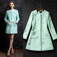 New arrival 2014 winter embroidered warfactory beading wool overcoat woolen outerwear medium-long coat