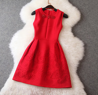 New arrival 2014 women's space cotton compound fabric embossed beading tank dress one-piece dress