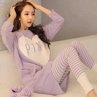 Women's long-sleeve sleepwear female cotton autumn trousers Women pink lounge twinset