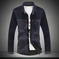 2014 autumn knitted shirt long-sleeve shirt plus size plus size men's clothing Turn the tie pocket shirt