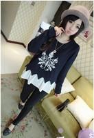 2014 Korean Hitz large size women wild round neck long-sleeved blouse was thin female t-shirt shirt