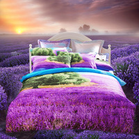 Bedrug 3d 100% cotton four piece set cotton 100% activated three-dimensional flowers cartoon animal oil painting 4 1.8 bedding