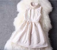 2014 New Fashion high quality hepburn pearl sleeveless one-piece dress elegant ladies dress small sleeveless dresses