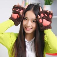 2014 Winter Unisex Personalized Cat's Claw Semi-finger Velvet Gloves Thicken Warm
