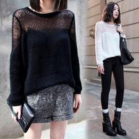 Autumn fashion winny women's 2014 fashion cutout loose long-sleeve pullover sweater thin sweater