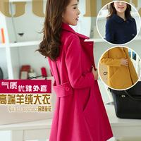 Star  women medium-long turn-down collar woolen overcoat cloak woolen outerwear female coat