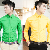 Autumn and winter 2014 men's clothing shirt gold buckle casual long-sleeve clothes male clothes