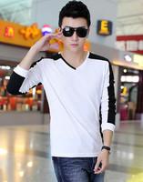 M-5XL autumn trend slim men's V-neck male casual long-sleeve T-shirt men's clothing