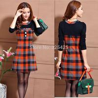 Spring autumn one-piece dress elegant slim plaid long-sleeve dress women plus size 2014