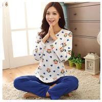 New arrival autumn sleepwear 100% long-sleeve cotton cartoon lovely sleepwear female casual lounge set female