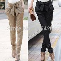 Spring autumn casual women pants bow lacing long trousers slim bow harem pant