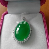 Natural green agate chalcedony big egg noodles 925 pure silver inlaying pendant boxed male Women