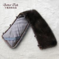 Top Quality  Male mink hair Fur collar square collar Scarf brown black