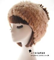 New arrival Fashion  Rabbit Fur Knitting Wool Warm Ear Korean Cotton hat Women Winter Tide hats free shipping  high quality