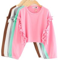 Autumn vintage baimuer laciness patchwork loose batwing sleeve short design long-sleeve sweatshirt shirt female