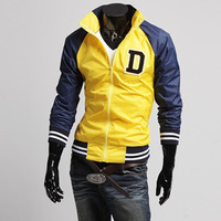 2014 autumn fashion jacket men letter printed zipper coat stand collar striped sleeve casual men jacket outerwear