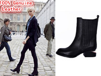Real Genuine Leather Women Martin Boots Pointed Toe Brand Fashion Wang Flat Gold  Heels Winter Autumn Motorcycle Black Shoes