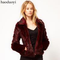 Wine Red Fox Fur Overcoat Elegant Turn-Down Collar Long-Sleeve Zipper Fur Coat Casual Faux Fur Jacket For Women Free Shipping