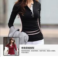 Hot sale 2014 New women's Designer Cotton long-sleeved Casual T-Shirts Tops New Sport Shirt Button V-neck design t-shirts