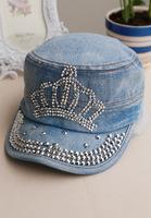 Spring Summer Military Hat Crown Pattern Rhinestone Denim Hat Women Females Flat Caps all-match pattern rhinestone denim hat