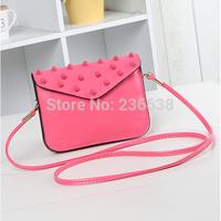 2014 rivet mobile phone bag mini bag one shoulder multifunctional coin purse wallet mobile phone female cross-body bag