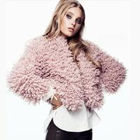 Pink Circle Faux Wool Soft Surface High Waist Overcoat No Button Short Jacket Fur Coat Fashion Winter Coat Women,Free Shipping