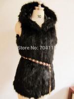 All-match fox fur vest with hood