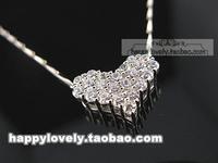 925 pure silver jewelry women's full rhinestone white cubic zircon pendant of love necklace