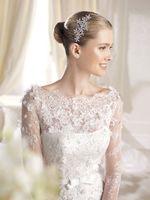 Free shipping  vestidos de novia fashion luxury slit neckline long-sleeve lace fish tail train plus size wedding dress 2014