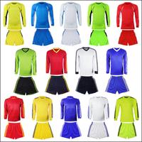 Long-sleeve jersey set blank uniforms paintless jersey football training suit badge