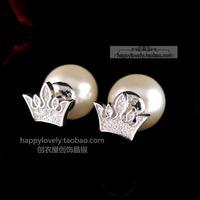925 pure silver jewelry Women full rhinestone big pearl stud earring anti-allergic women's sparkling