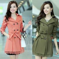 2014 slim women's fashion coat  medium-long lace spring and autumn outerwear 5 color plus size M-XXXL