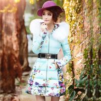 2014 women's winter down coat female slim print large fur collar thickening medium-long outerwear