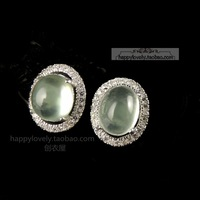 Saturates ice 925 pure silver oval natural prehnite top cubic zircon stud earring earrings female