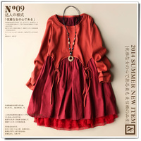 2014 fluid long-sleeve autumn one-piece dress sweet high waist pure colorant match knitted plus size clothing