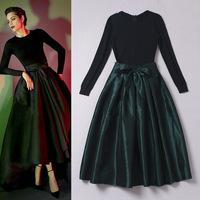 Discount ! Ulyana Sergeenko Vintage Boutique Dress Elegant Long Sleeves Black Knitted Patchwork Tied Waist A Line Mid Calf Dress
