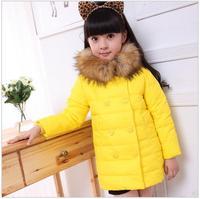Winter Luxury Large Fur Collar Children Girls Kids Long Design Hooded Down Jacket Fashion Thickening Warm Parkas Coat Outerwear