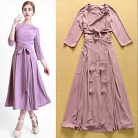 European Streetwear Fashion Boutique Dress Women's Cute 3/4 Sleeves Pure Purple / Green Pleated Mid Calf Tunic Dress