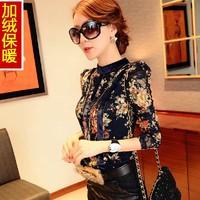 2014 new Winter women's long-sleeve T-shirt plus velvet thickening slim lace thermal basic t shirt design female top S-XXL