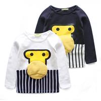 Child long-sleeve T-shirt children's clothing 2014 autumn cartoon monkey 100% cotton casual baby long t-shirt male child basic