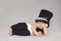 Newborn Photography Props Outfits Hats Caps Pants Crochet Gentlemen Baby Boy Girls Costume Sets Winter New Arrivals