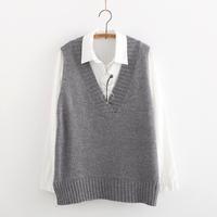 2014 women  loose elegant solid color V-neck sleeveless pullover vest