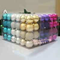 free  shipping Carnival christmas set ball christmas ball 6cm powder 16 Christmas decoration supplies