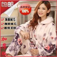 Thickening sleepwear female autumn winter cartoon lounge mink flannel velvet coral fleece sleep set female