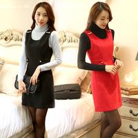 Woolen one-piece dress autumn and winter autumn plus size clothing slim waist slim sleeveless tank dress 2014